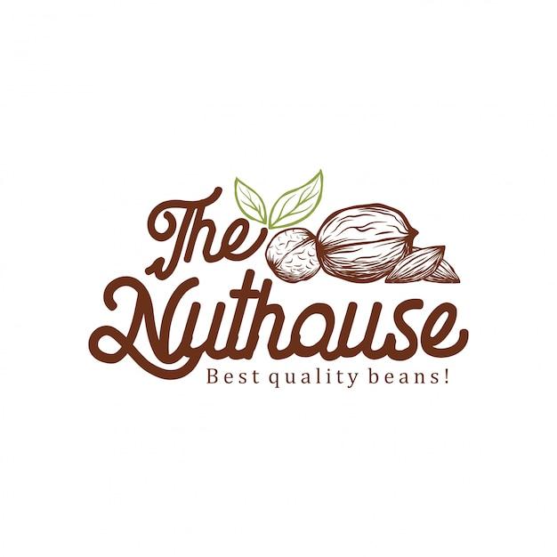 Ореховый дом дизайн логотипа Premium векторы