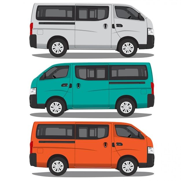 Микроавтобус векторные иллюстрации, изолированных на белом фоне полный редактируемый формат Premium векторы