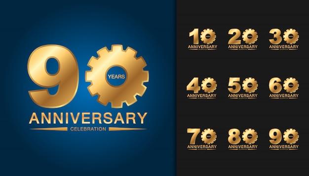 黄金周年記念ロゴタイプのセットです。 Premiumベクター
