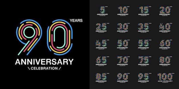 カラフルな記念日のお祝いのロゴタイプセット。 Premiumベクター