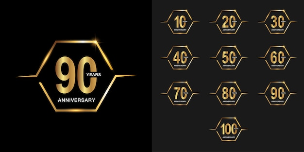 黄金周年記念お祝いロゴタイプセット。 Premiumベクター