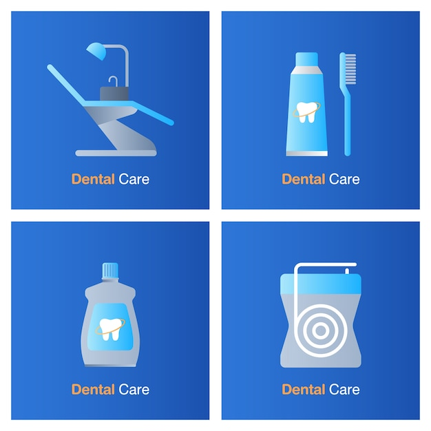 歯科治療のコンセプトです。予防、検診および歯科治療。 Premiumベクター