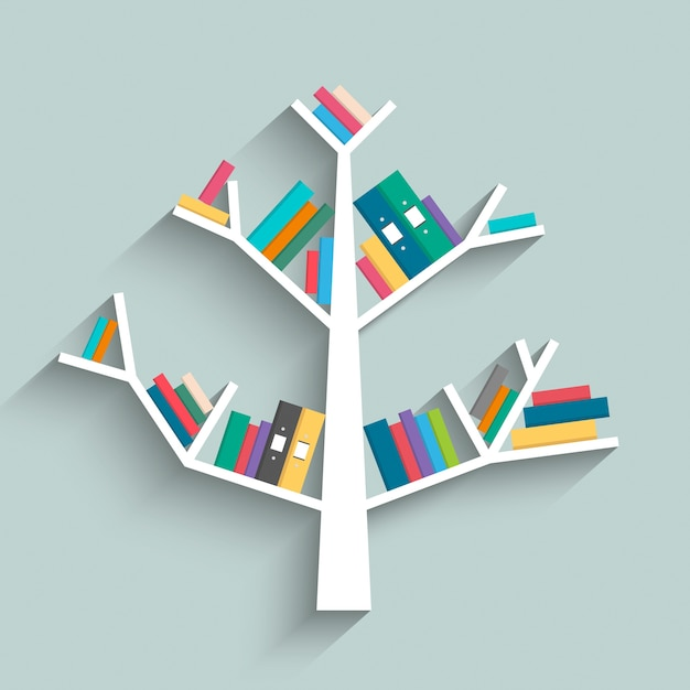 カラフルな本を持つ木の形の本棚 Premiumベクター