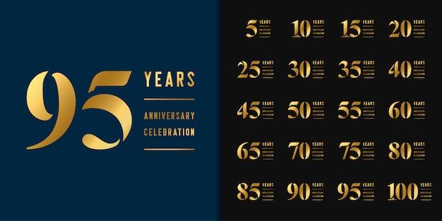 周年記念ロゴタイプのセットです。 Premiumベクター