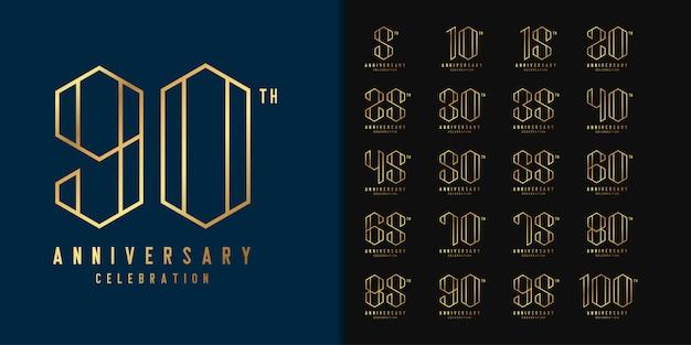 周年記念ロゴタイプのセットです。黄金周年記念お祝いエンブレムデザイン。 Premiumベクター