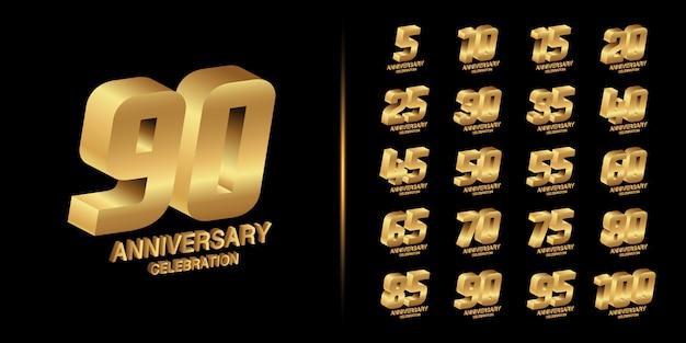 黄金周年記念エンブレムデザイン。 Premiumベクター