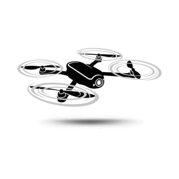 コーターまたはクワッドコプターは、カメラと白い背景で分離。 Premiumベクター