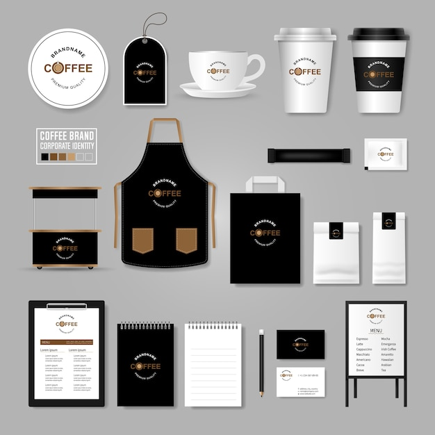 Фирменный стиль. концепция логотипа для кафе, кафе, ресторана. Premium векторы