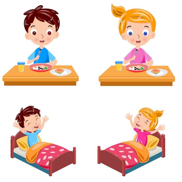 Мальчик и девочка просыпаются и завтрак вектор Premium векторы