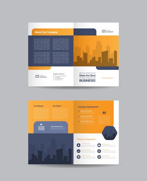 ビジネス二つ折りパンフレットのデザイン Premiumベクター