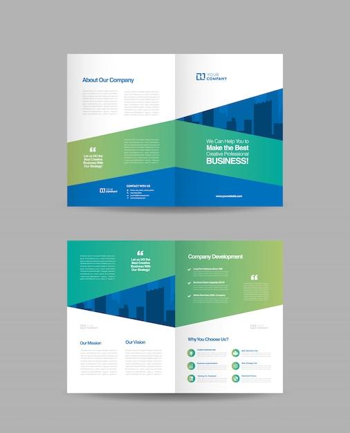 二つ折りパンフレットのデザイン Premiumベクター