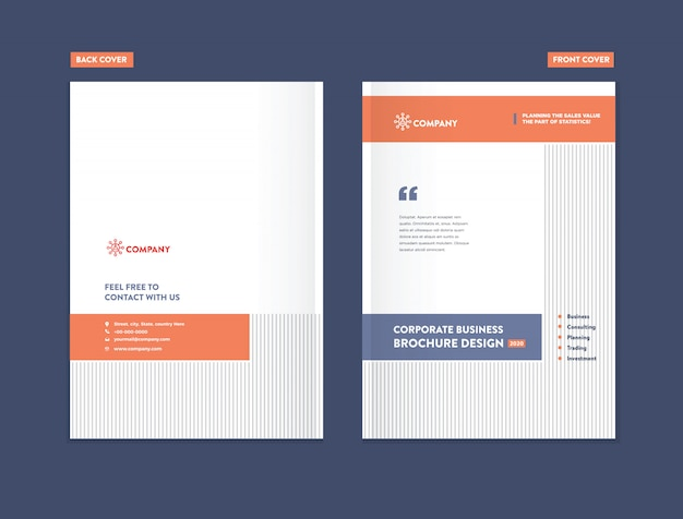 ビジネスパンフレット表紙デザインテンプレート Premiumベクター