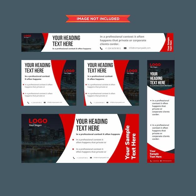 Набор абстрактных красных и белых профессиональных веб-баннеров Premium векторы