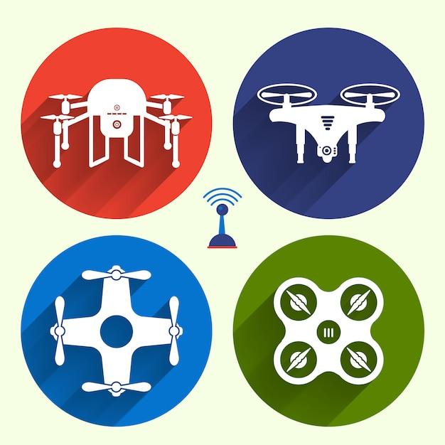 Векторный объект дроны Premium векторы