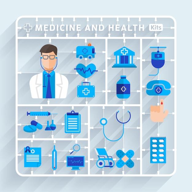 イラストコンセプト医療と健康的なベクトル Premiumベクター