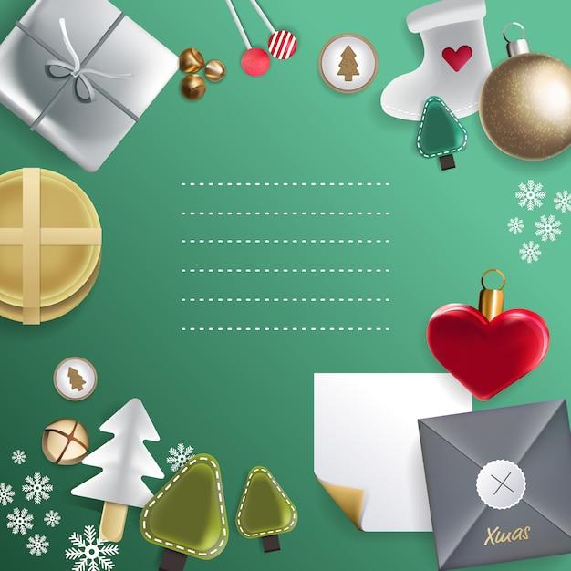 セット要素の概念メリークリスマスと新年あけましておめでとうざい、イラスト。 Premiumベクター
