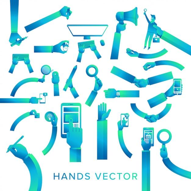 Векторный набор руки держать устройство Premium векторы