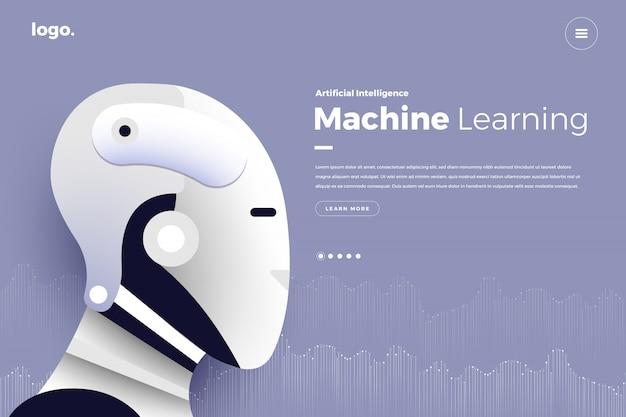 Целевая страница искусственный интеллект Premium векторы
