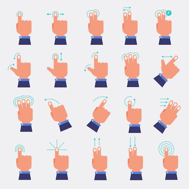 手と指のベクトルを設定 Premiumベクター