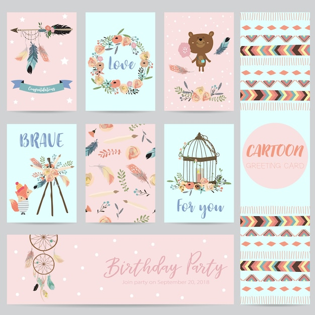 Розовые, синие карточки для баннеров, флаеров, плакатов с пером, медведя, дикого, венка и клетки Premium векторы