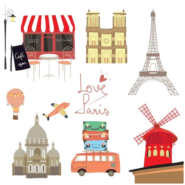旅行スタンプとフランスのアイコン Premiumベクター