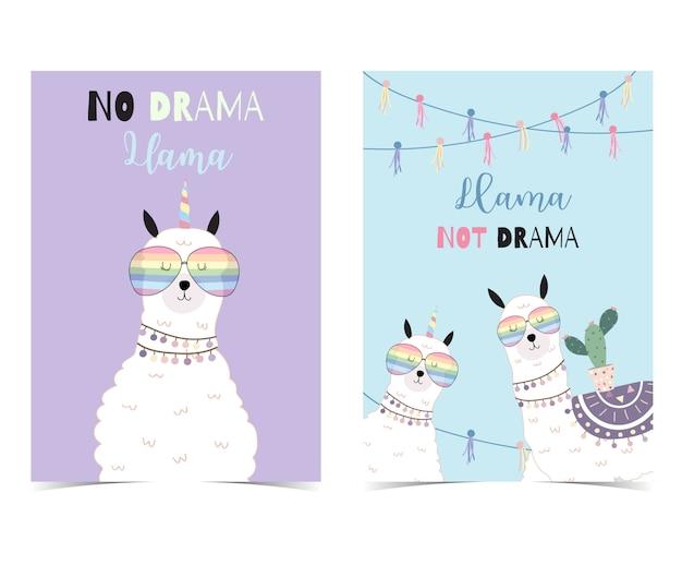 ラマと青紫手描きかわいいカード Premiumベクター