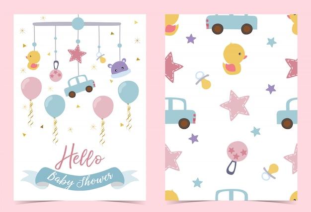 おしゃぶりとピンクブルーの誕生日の招待状 Premiumベクター
