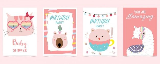 Пастельная открытка с ламой, котом, медведем Premium векторы