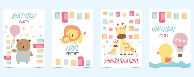 クマとパステルカラーのカード Premiumベクター