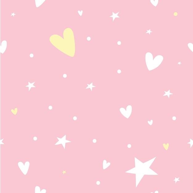 Пастельный бесшовный узор со звездой, сердцем Premium векторы