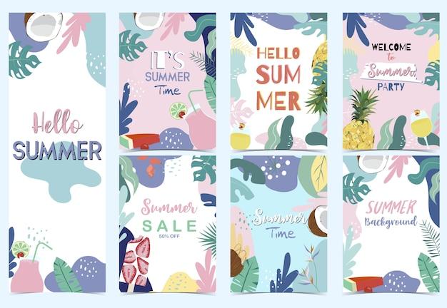 Зеленая розовая голубая летняя открытка с цветком Premium векторы