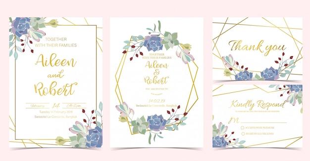 幾何学的なシックな結婚式の招待状 Premiumベクター