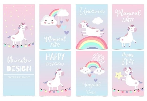 子供のためのかわいいユニコーンカード Premiumベクター