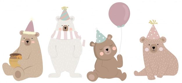 Милый медведь персонаж с другом Premium векторы