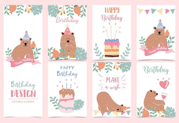 Коллекция день рождения фон с медведем Premium векторы