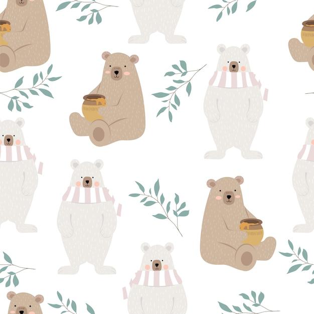 Милый медведь с листиком Premium векторы