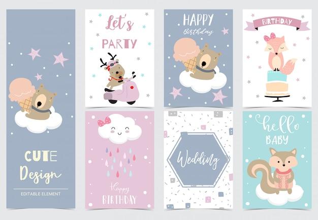 トナカイ、クマ、キツネ、リスで設定された動物カードのコレクション。 Premiumベクター