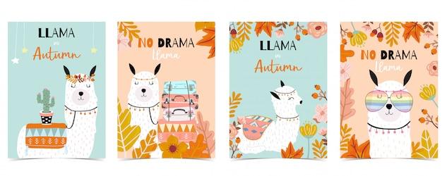 Синий оранжевый рисованной милая карта с ламой, кактус, очки, цветок. нет драмы ламы Premium векторы