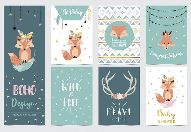 ドリームキャッチャー、羽、キツネ、星の誕生日の招待状のかわいい子供 Premiumベクター
