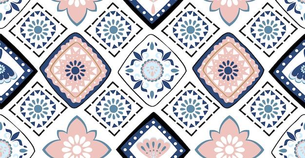 青とピンクの幾何学的なシームレスパターン Premiumベクター