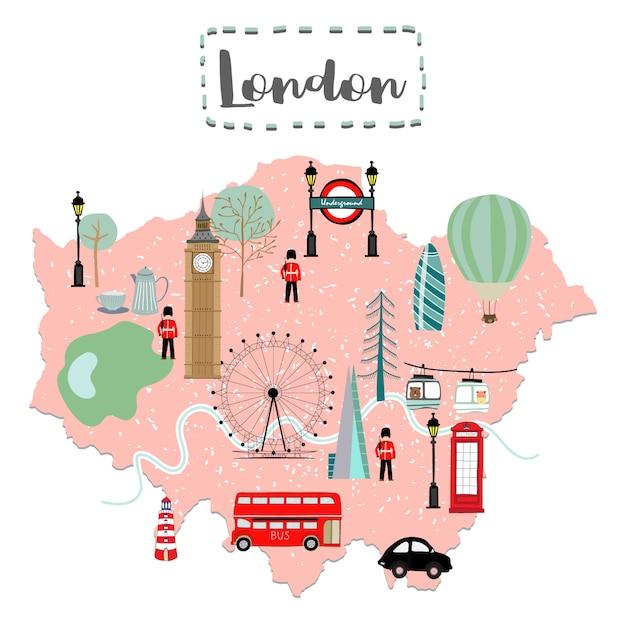 Симпатичная карта лондона в великобритании Premium векторы