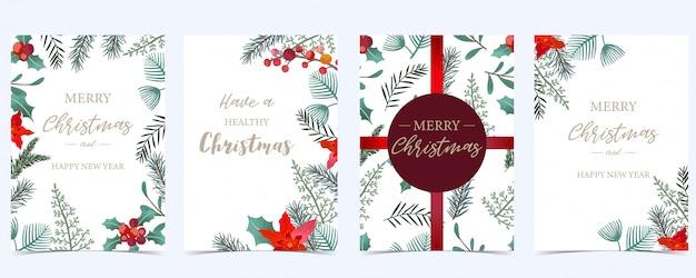 Рождественское приглашение с листьями падуба Premium векторы