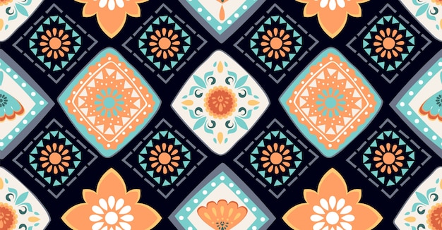 アフリカスタイルのカラフルな幾何学的なシームレスパターン Premiumベクター
