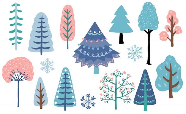 冬の木の森セット Premiumベクター