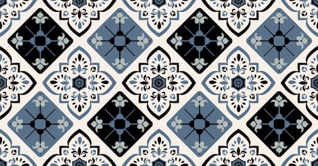 Зеленый синий черный геометрический узор бесшовные в африканском стиле с квадратной, племенной формы Premium векторы