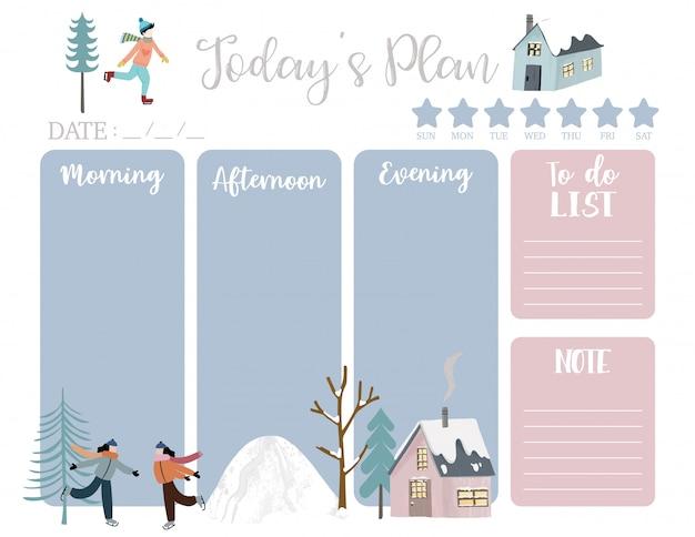 家、雪、人、木とかわいい今日の計画。 Premiumベクター