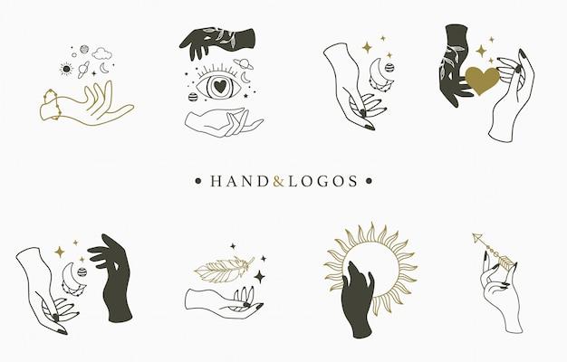Красота оккультной коллекции логотипов с рукой, кристаллом, луной, глазом и звездой. Premium векторы