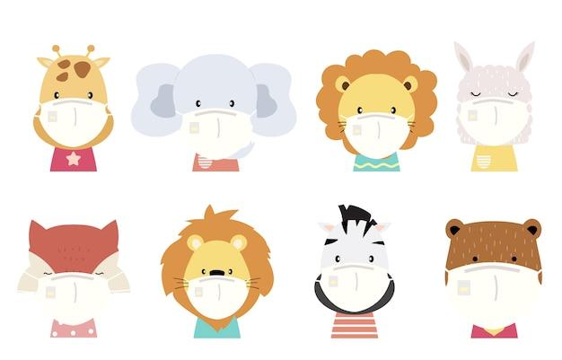 ライオン、キツネ、シマウマ、トラ、象、ラマのかわいい動物オブジェクトコレクションは、マスクを着用します。バクテリア、コロンウイルスの蔓延防止のイラスト Premiumベクター