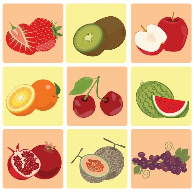 赤い緑の新鮮なフルーツのアイコン Premiumベクター
