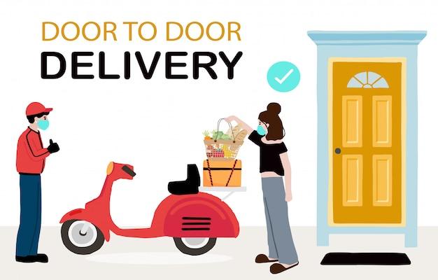Онлайн доставка бесконтактных услуг на дом, в офис на мотоцикле. доставщик несет знак для предотвращения коронавируса Premium векторы
